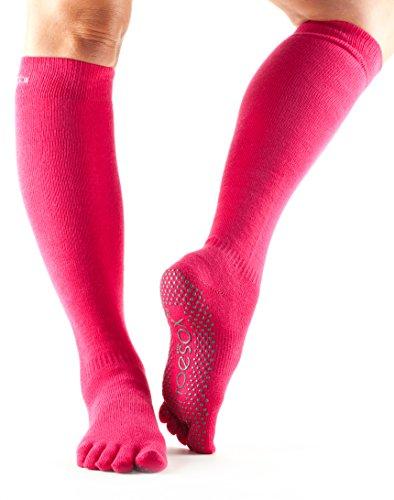 ToeSox Women's Grip Full Toe Scrunch Socks, Small, Fuchsia