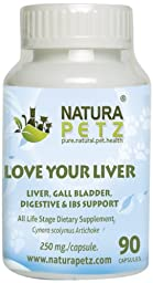 Natura Petz Love Your Liver, Detox, Gall Bladder, Digestive and Irritable Bowel Syndrome Support Pet Supplement, 90 Capsules, 250mg Per Capsule