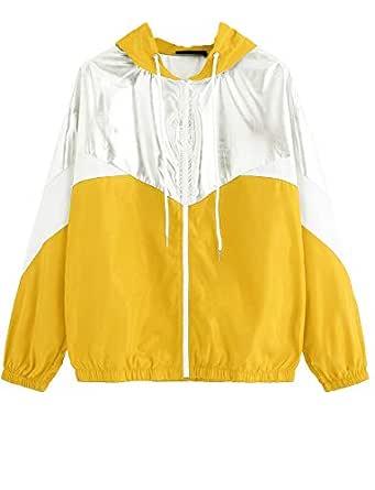Romwe Women's Colorblock Long Sleeve Loose Zip Up Drawstring Windbreaker Hoodie Jacket Yellow XS