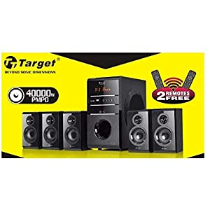 Target 170 W RMS 5.1 Channel Home Theater System Bluetooth Speakers with 2 Wireless mic Slots Surround Sound,USB, Memory Card, FM Radio for LED TV, PC