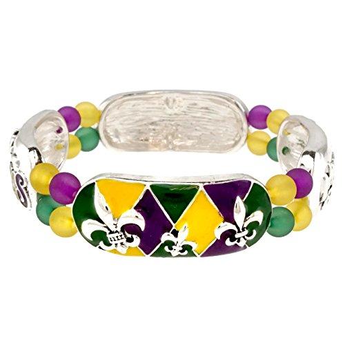 Mardis Gras Theme (Elosee Mardi Gras Theme Bracelet (Stretch)