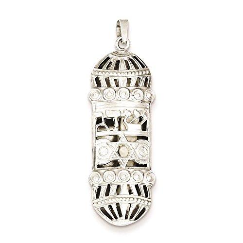(925 Sterling Silver Fancy Mezuzah Polished Charm Pendant)