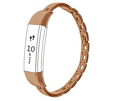 Metal Bracelet Band for Fitbit Alta,Classy Replacement Accessory Watch Bands For Fitbit Alta Fitness Tracker /Fitbit Alta Bands,Rose Gold (No Tracker)