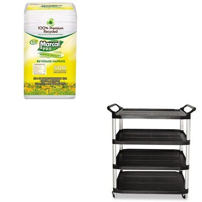 KITMRC28CTRCP409600BLA - Value Kit - Rubbermaid Xtra Four Shelf Utility Cart, Black (RCP409600BLA) and MarcalPro 100% Recycled Beverage Napkins (MRC28CT) by Rubbermaid