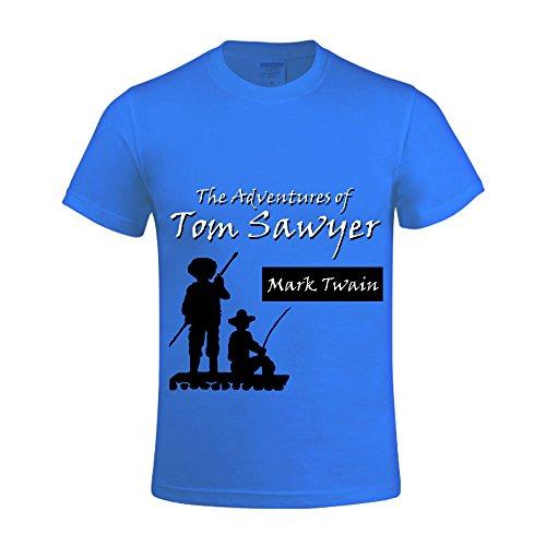 Mark Twain Adventures of Tom Sawyer by Mark Twain Men Tee Round Neck Printed Blue