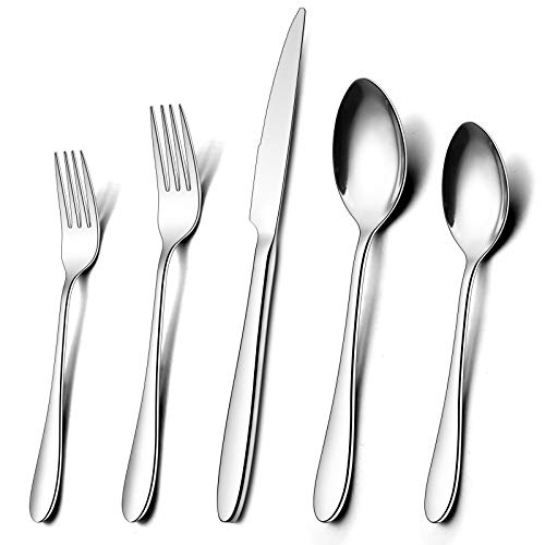 30-Piece Silverware Set, Wildone Stainless Steel Flatware Set Service for 6, Tableware Cutlery Set for Home Kitchen…