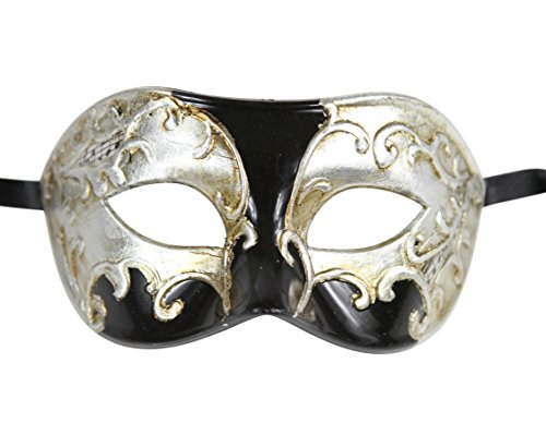 Luxury Mask Men's Vintage Design Masquerade Prom Mardi Gras Venetain Mask, Black/Silver Musical, One -