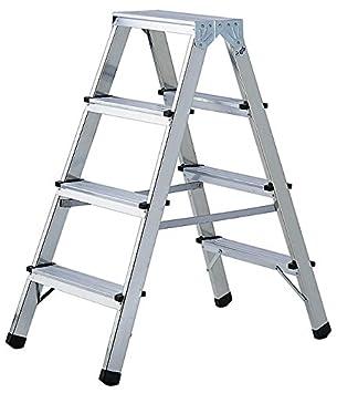 Brennenstuhl Doppelstufenleiter aus Aluminium 2x4 Stufen beidseitig begehbare Alu-Stehleiter, 0,82m hoch, max. Traglast 150kg