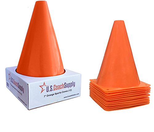 U.S. Coach Supply 7-Inch Orange Sports Training Cones | Agility Marker Cones - (12 Pack) ()
