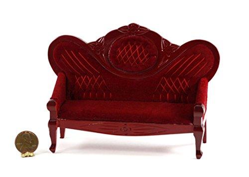 Dollhouse Miniature Vintage Look Red Velvet Hand Carved Mahogany Wood Sofa (Doll Wood Vintage)