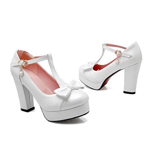 YE Women T Strap Block High Heel Platform Pumps Court Shoes with Bow White S3ru0PFcbb