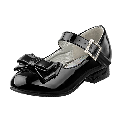 hoe with Beautiful Bow, Black Patent, 10 M US Toddler' ()