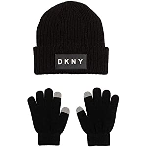 DKNY Boys 3-Piece Fold Over Winter Beanie Hat and Gloves Set