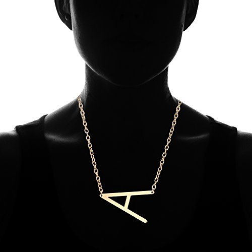 Gmai-Womens-Classic-Stainless-Steel-Big-Letter-Necklace-Initial-Chain-Script-Pendant-Name-Necklace-Sideways-large-Initial-Necklace-for-Women-GiftGold-Letters-A-Z-Available