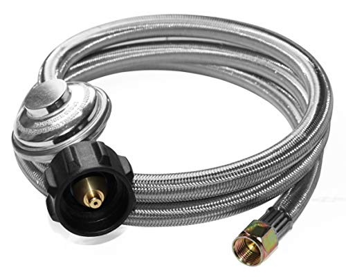 Propane Regulator Hose (DOZYANT 5 Feet Universal QCC1 Low Pressure Propane Regulator Grill Replacement with Stainless Steel Braided Hose for Most LP Gas Grill, Heater and Fire Pit Table, 3/8