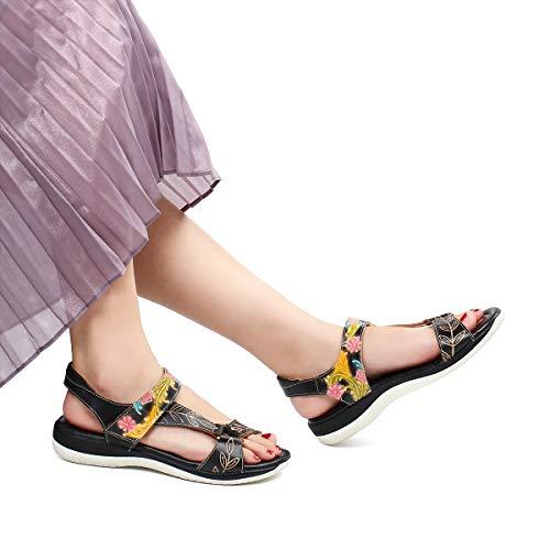 Sandales Marron Plates Gracosy Pour Trekking Chaussures Larges Confortables Talons Sports Plats Pieds Noir Été Cuir En Bleu De Femmes Marche Randonnée 1BxBd