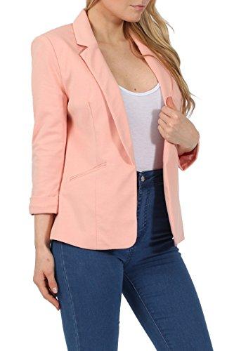 a nbsp;aperta modello davanti corto elasticizzato 4 Giacca da casual 3 stile Peach maniche tessuto donna sul ExwTpwXqn8