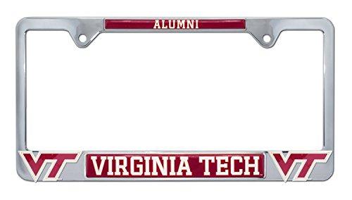 Premium All Metal NCAA VT Hokies Alumni License Plate Frame w/Dual 3D Logos (Virginia Tech)