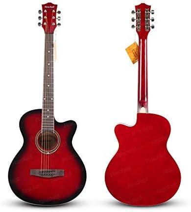 アコースティックギター ソリッドウッドベニヤギター38インチローズウッド指板とのアコースティックギター 小学生 大人用 ギター初級 (色 : 赤, Size : 38 inches)