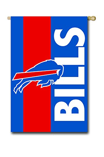 Team Sports America Buffalo Bills Outdoor Safe Double-Sided Embroidered Logo Applique House Flag, 28 x 44 ()