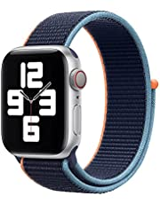 Nylon Loop Band for Apple Watch 44mm / 42mm Series 1/2/3/4 Replacement Strap Mesh Soft Sports Wristband Bracelet - Navy Orange