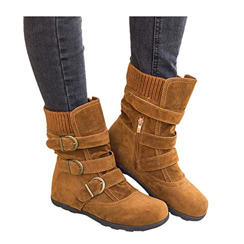 - Women's Winter Snow Boots Zipper Buckles Strap Warm Ankle Mid Flat Boot (Brown, US:9.5)