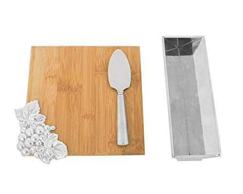 Arthur Court Designs Bamboo Cheese Board with Aluminum Grape Accent Cracker Tray and Spreader