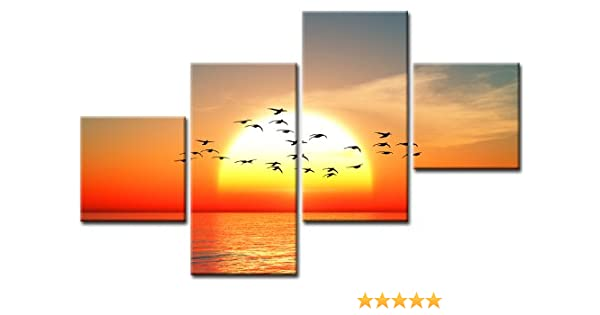 TOP imagen puesta de sol sobre lienzo 4 imágenes Art-Nr. M40120 ...