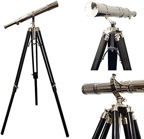 Maritime Vintage Floor Standing Brass Telescope | Chrome Finish Telescope 65''- Nautical Decor