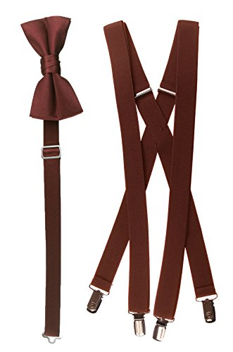 Bow Tie and Suspender Set Combo in Men's & Kids Sizes (48'' Mens, Rust) by Tuxgear