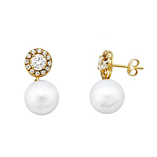 Boucled'oreille or 18k cercle de perles de culture zircons [AA6199]