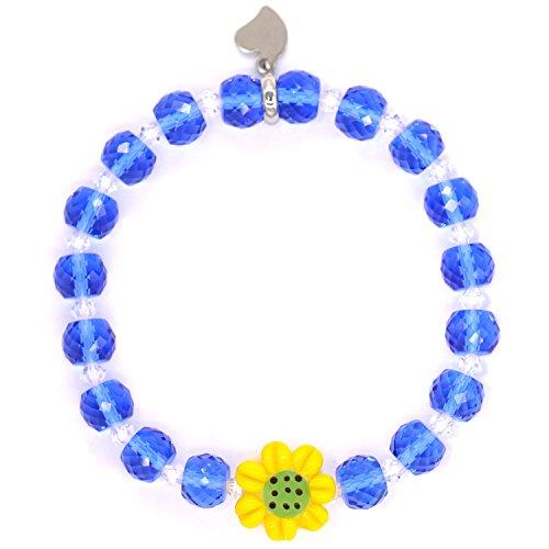 Phochery Sunflower Charm Bracelet Top Austria Crystal Beads Stretch Bracelet Bangle Fashion Jewelry Gift for Women Girls Sister Friend [Gift Packaging] - Sapphire (Enamel Crystal Stretch Bracelet)