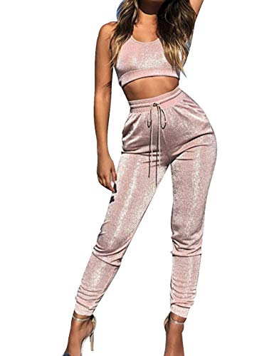 XXXITICAT Women's Peach Pink Glitter Shine Suede 2 Piece Sets Sparkle Crop Top Leggings Tracksuits Sports Matching Suits(PI,S)