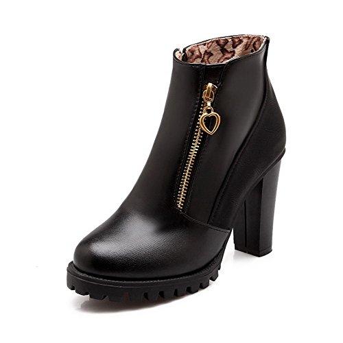 Allhqfashion Women's Low-Top Blend Materials Round Closed Toe Solid Boots Black-zippers zaj8f192Li