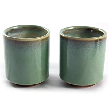 Image Unavailable  sc 1 st  Amazon.com & Pair of Japanese Stoneware Tea Cups - Earthy Green u0026 Brown: Amazon ...