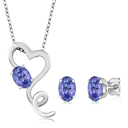 Gem Stone King 1.95 Ct Oval Blue Tanzanite 925 Sterling Silver Pendant Earrings Set