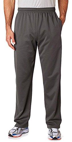 (Jerzees PF974 Adult Sport Tech Fleece Open-Bottom Sweatpants With Pockets - Stealth, 2XL)