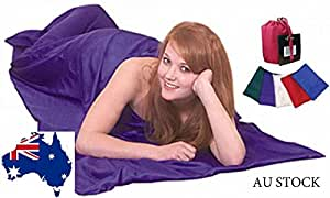 Oz-mate 100% Pure Silk Sleeping Bag Liner & Cover for Camping, travel Single Size