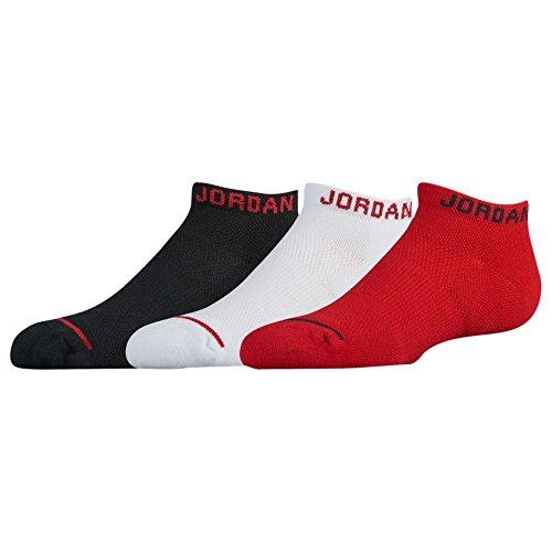 NIKE AIR JORDAN JUMPMAN NO SHOW SOCKS 3 PACK - BOYS' GRADE SCHOOL (5-7 (Shoe 10C-3Y), Black/White/Gym Red) (Jordan Shoes Multicolored)