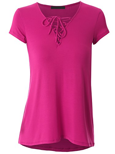 Govc Women Casual Bandage V Neck Short Sleeve Plus Size T-Shirts Summer Tops Tees(Rose,XXL)