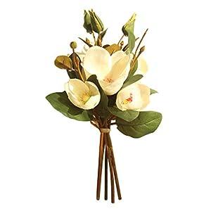 MaxFox Artificial Flowers,Fake Leaf Magnolia Floral Wedding Bouquet Arrangement in Vase for Party Home Decor (B) 48