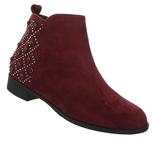 Booties Stiefel Leder Optik Blockabsatz Flache Damen 36 Boots Schuhe Kurze Ankle Weinrot 41 Stiefeletten SqHqv8