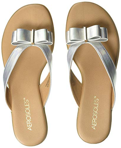 - Aerosoles Women's MIRACHLE Flip-Flop, Silver Metallic, 8.5 M US