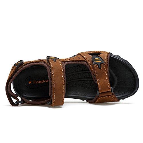 Marrone Grandi a Pelle Prova Skid Sandali da Impermeabile Nastro Dimensioni di da Mucca in di Scarpe Cricket Uomo Traspirante Casual Toe IqRxqO7Z