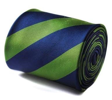 Frederick Thomas Verde y azul marino Barber Rayas Corbata con ...