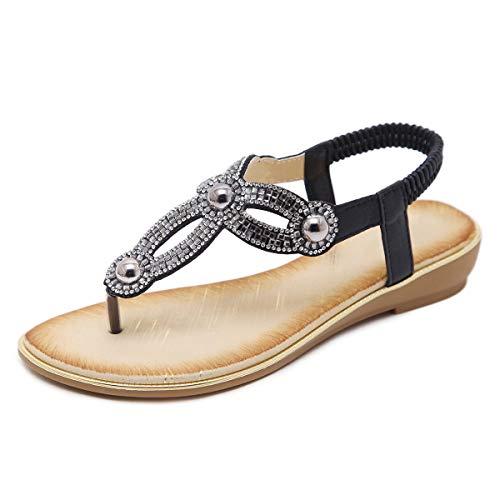 GetMine Womens Rhinestone Sandals T-Strap Buckle Bohemian Pearl Crystal Flat Sandals,Flip Flop 5 M Black 01