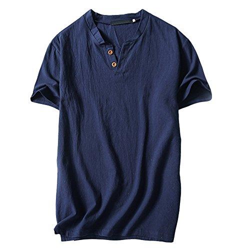shirt Lubity Casual Bleu Coton En Manches Col S~4xl Mince Pour Rond Solide Top Homme Blouse Foncé Chemisier T Décontractés Courtes À Hommes frn5Rf6q