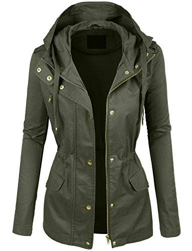 LE3NO Womens Lightweight Cotton Military Anorak Jacket with Hoodie,Olive, Small (Women's Military Style Jacket)