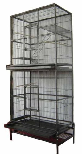 Mcage New Large Tall Double Stackable Wrought Iron Breeding Bird Parrot Cockatiel Conure Breeder Cage Black Vein ()