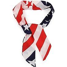 Trendy Apparel Shop US American Flag Printed Patriotic Lightweight Fashion Scarf